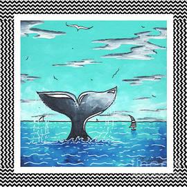 Megan Duncanson - Coastal Nautical Decorative Art Original Painting Whale Tail Chevron Pattern SEA FARER by MADART