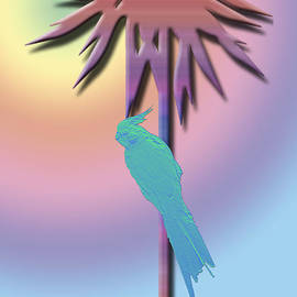 Cockatiel and Palm Tree by Karen Nicholson