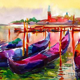 Coloful Venice Boats Painting by Svetlana Novikova