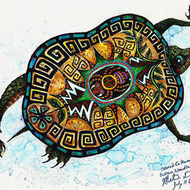 Colored Cultural Zoo C Eastern Woodlands tortoise by Melinda Dare Benfield
