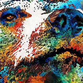 Sharon Cummings - Colorful Bear Art - Bear Stare - By Sharon Cummings