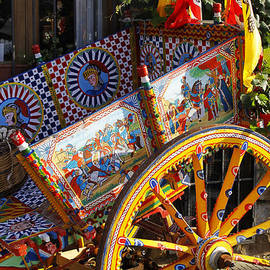 Colorful decorated horse carriage Cefalu Palermo Sicily Italy by Stefano Senise