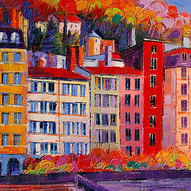 Mona Edulesco - Colorful Facades On The Banks Of Saone - Lyon France