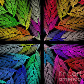 Andee Design - Colorful Feather Fern - 4 X 4 - Abstract - Fractal Art - Square