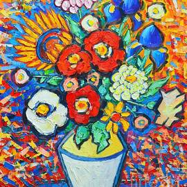 Ana Maria Edulescu - Colorful Flowers - Summer Joy - Sunflowers Poppies Irises Zinnias Wild Roses And Some Daisies