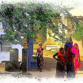 Sue Jacobi - Colorful Indian Women Rajasthani Village Street