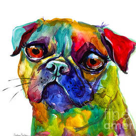 Svetlana Novikova - Colorful Pug dog painting