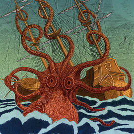 Colossal Octopus Attacking Ship 1801 by Science Source