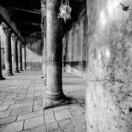 Columns at the Church of Nativity Black and White Vertical by David Morefield