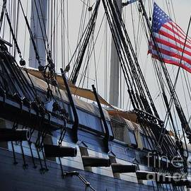 U S S Constellation Broadside And Old Glory, Baltimore by Marcus Dagan