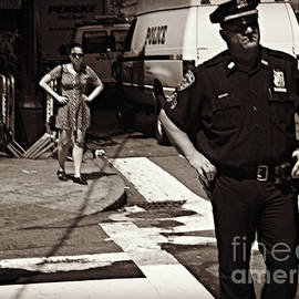 Cop and Girl - Mirror Image - New York City Street Scene by Miriam Danar