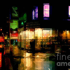 Corner in the Rain - The Lights of New York by Miriam Danar