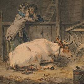 Julius Caesar Ibbetson - Courtship in a Cowshed