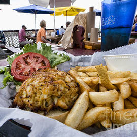Crabcake Platter On The Deck At Rock Hall Maryland by William Kuta
