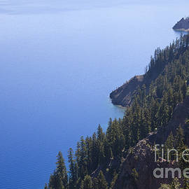 Crater Lake Ringed By Steep, Fir Clad by Ellen Thane