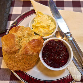 Cream tea with home made scone jam and clotted cream by Louise Heusinkveld