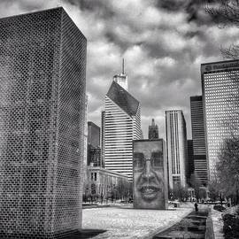 Chicago Crown Fountain Black and White Photo