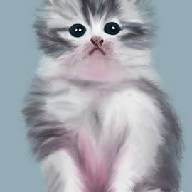 Cute Kitten by Barefoot Bodeez Art