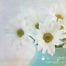 Daisies in aqua vase by Sylvia Cook