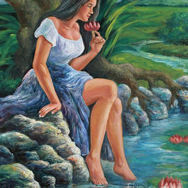 daragang magayon -beautiful lady in Mayon by Manuel Cadag