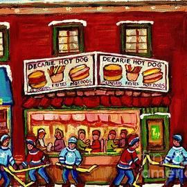 Carole Spandau - Decarie Hot Dog Restaurant Cosmix Comic Store Montreal Paintings Hockey Art Winter Scenes C Spandau