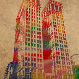 Dime Building Iconic Buildings of Detroit Watercolor on Worn Canvas Series Number 1 by Design Turnpike