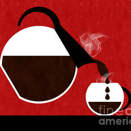 Diner Coffee Pot And Cup Red Pouring by Andee Design
