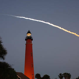 Discovery Booster Separation over Ponce Inlet Lighthouse by Paul Rebmann