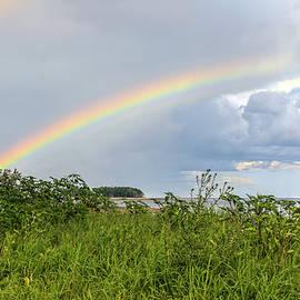 Double rainbow Sheffield Island by Marianne Campolongo