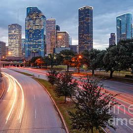 Downtown Houston From the Allen Parkway Foot Bridge - Houston Texas by Silvio Ligutti