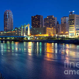Downtown Minneapolis Skyline Hennepin Avenue Bridge by Wayne Moran