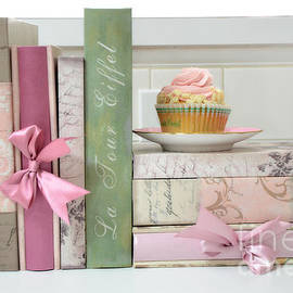 Kathy Fornal - Dreamy Shabby Chic Cottage Chic Cupcake Books Print - Pink Cupcake Books Print Home Decor