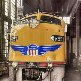 E9 951 in the Roundhouse in Cheyenne by Ken Smith