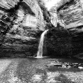 Eagle Cliff Falls in Black and White by Trina  Ansel