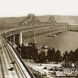 Eastern span of San Francisco-  Oakland Bay Bridge circa 1937 by California Views Archives Mr Pat Hathaway Archives