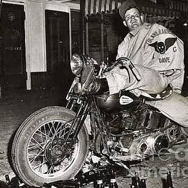 Eddie Davenport Of Tulare California On A Motorcycle Hollister  July 7 1947 by California Views Archives Mr Pat Hathaway Archives