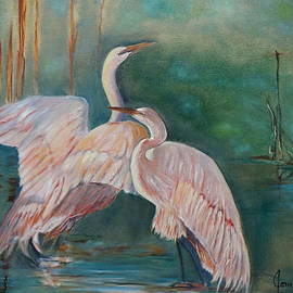 Egrets in the Mist by Jenny Lee