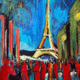 Eiffel Tower And The Red Visitors by Mona Edulesco