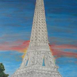 Eiffel Tower Red Sky mm by Irving Starr