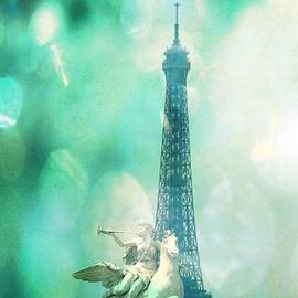 Eiffel Tower with Blue Textures by Carol Groenen