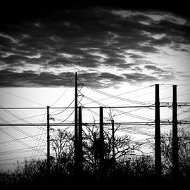 Electric Sunset Two Black And White by James Granberry