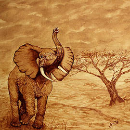 Elephant Majesty Original Coffee Painting by Georgeta  Blanaru
