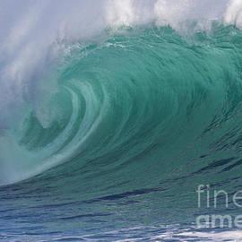 Emerald green breaking wave tube by Heiko Koehrer-Wagner