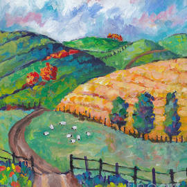 Peggy Johnson - Emerald Hills Right Panel of Triptych