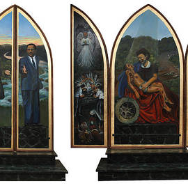 Emmett Till Memorial Triptych With the Outside and the Inside by Art Nomad Sandra  Hansen