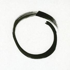 Enso #1 - Zen Circle Minimalistic Black And White by Marianna Mills