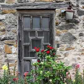 Espada Doorway with Flowers by Mary Bedy