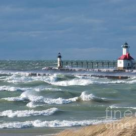 Whitecaps at St. Joseph Lighthouse by Ann Horn