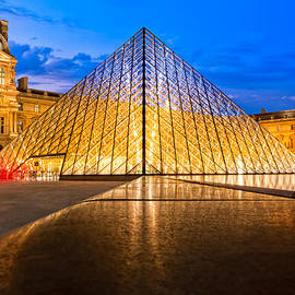 Fabulous Louvre Pyramid At Night by Mark Tisdale