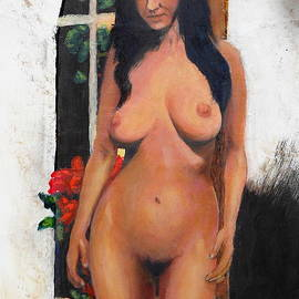 Female Nude Standing With Red Begonia by G Linsenmayer